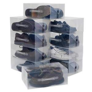 10 Stackable Clear  Knee Length Boots Storage Boxes