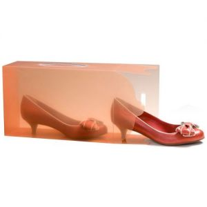 3 Ladies Translucent Tangerine Stackable Shoe Boxes
