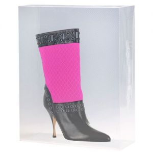 5 Stackable Clear Mid Calf Boots Storage Boxes