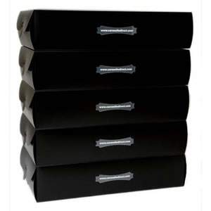 "5 Large Black Storage Boxes. 53 x 29 x 12 cms ( approx 21"" x 11 1/2"" x 4 3/4"" )"