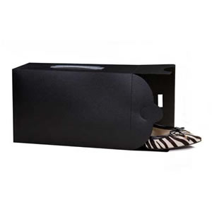 "Black Stackable Ladies Shoe Box, 30 x 18 x 10 cms ( 11 1/2"" x 7"" x 4"" )"