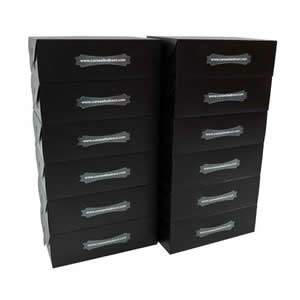 "25 Black Stackable Ladies Shoe Boxes, 30 x 18 x 10 cms ( 11 1/2"" x 7"" x 4"" )"