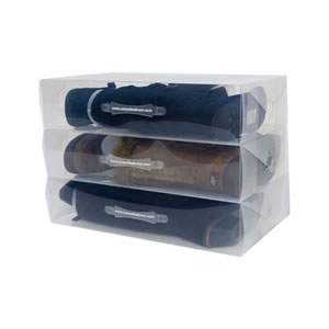 3 Stackable Clear  Knee Length Boots Storage Boxes
