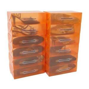 25 Ladies Translucent Tangerine Stackable Shoe Boxes