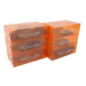 6 Ladies Translucent Tangerine Stackable Shoe Boxes