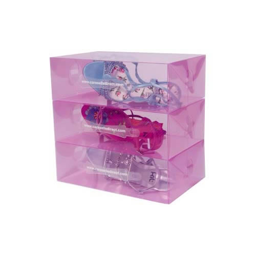stackable transparent pink shoe storage boxes
